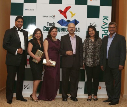 Mr Ajay Singh Chauhan- CEO, Spectrum Group with team at Spectrum's 3rd Annual Partner Conference in Dubai called Tech Convergence 2014